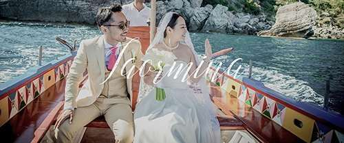 Megumi and Shoto in a wedding movie set in Taormina, Sicily